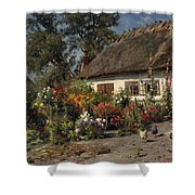 A Cottage Garden With Chickens Shower Curtain