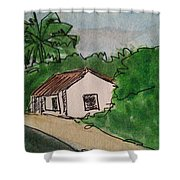 A Cottage Next To The Pathway Shower Curtain