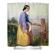A Country Girl Standing By A Fence Shower Curtain