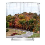 A Country Road In Autumn Shower Curtain
