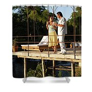 A Couple Having Drinks On A Deck Shower Curtain