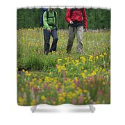 A Couple Hikes Through A Field Shower Curtain