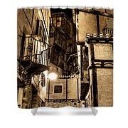 A Couple In A Little Restaurant In The Ancient City Of Albarracin Shower Curtain