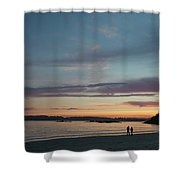 A Couple Walk Along The Shore Shower Curtain