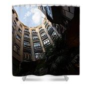 A Courtyard Curved Like A Hug - Antoni Gaudi's Casa Mila Barcelona Spain Shower Curtain