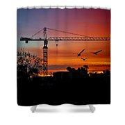 A Crane And Three Birds Shower Curtain