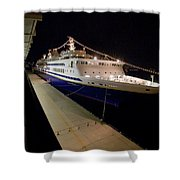A Cruise Ship At Night Docked Shower Curtain