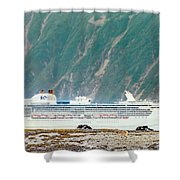 A Cruise Ship Passes By A Wolf Roaming Shower Curtain