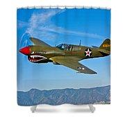 A Curtiss P-40e Warhawk In Flight Shower Curtain