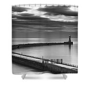 A Curving Pier With A Lighthouse At The Shower Curtain