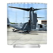 A Cv-22b Osprey On The Ramp At Hurlburt Shower Curtain