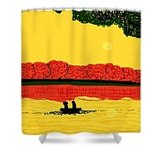 A Date At Sunset Shower Curtain