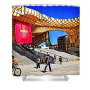 A Day At The Parasol Metropol Shower Curtain