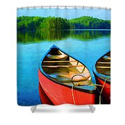 A Day On The Lake Shower Curtain