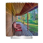 A Deck By The Methow River At Cottonwood Cottage Shower Curtain