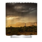 A Desert Monsoon Sunset  Shower Curtain