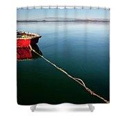 A Dinghy On A Calm Sea, Port Clinton Shower Curtain