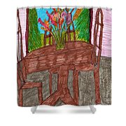 The Leaning Table Shower Curtain