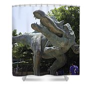 A Dinosaur Exhibit With Visitors In The Universal Studios Singapore Shower Curtain
