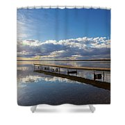 A Dock Leading Out Into The Lake At Shower Curtain