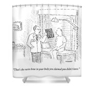 A Doctor Shows A Patient An X-ray Shower Curtain