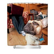 A Dog Stands At The Feet Of Its Owner Shower Curtain