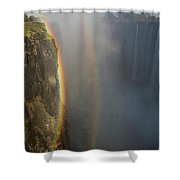 A Double Rainbow At Victoria Falls Shower Curtain