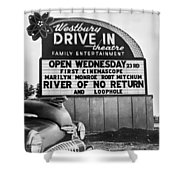 A Drive-in Theater Marquee Shower Curtain