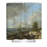 A Dune Landscape With A River And Many Figures Shower Curtain