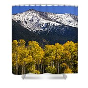 A Dusting Of Snow On The Peaks Shower Curtain