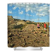 A Family Enjoys The Views Shower Curtain