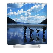 A Family Of Hikers Walks Shower Curtain