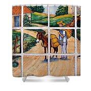 A Farm Scene On Plaza Tiles Shower Curtain