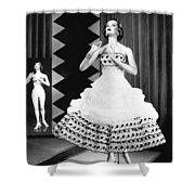 A Fashionable Mannequin And Her Unclothed Version In The Backgro Shower Curtain by Underwood Archives