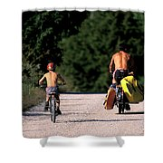 A Father And Son Ride Their Bikes To Go Shower Curtain