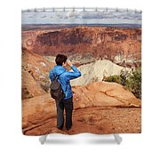 A Female Hiker Looking Shower Curtain