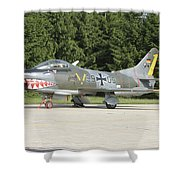 A Fiat G-91 Fighter Plane Of The German Shower Curtain