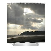 A Figure Strolls Along The Beach, Playa Shower Curtain