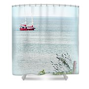 A Fine Day For A Red Boat Shower Curtain