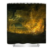 A Fire In The City Shower Curtain