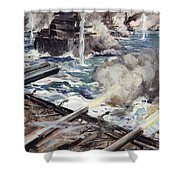 A Fleet Of Battleships Firing Shower Curtain