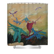 A Flight Of Dragons Shower Curtain