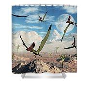 A Flock Of Thalassodromeus Pterosaurs Shower Curtain