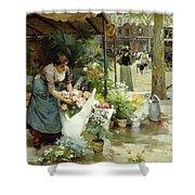 A Flower Market In Paris Shower Curtain