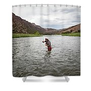 A Fly Fisherman Mends While Fishing Shower Curtain