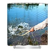 A Fly Fisherman Pulls A Fish Shower Curtain