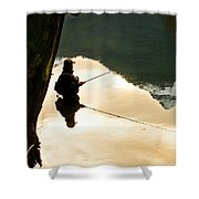 A Fly Fisherman Standing In A River Shower Curtain