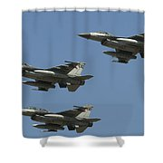 A Formation Of Turkish Air Force F-16cd Shower Curtain