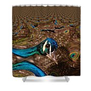 A Fractual Peacock  Shower Curtain