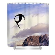 A Freestyle Skier Takes A Jump In Utah Shower Curtain
